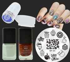 5Pcs/Set Cake Coffee Nail Art Stamp Plates Stamping Polish W/Stamper Scraper Kit