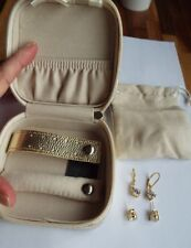 Diamonique 4ct tw Studs & Leverback Earrings Sterling Silver Y Gold Travel Box