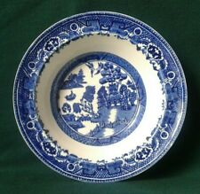 ALFRED MEAKIN OLD WILLOW DESSERT BOWL ART DECO WILLOW PATTERN FRUIT DISH IN BLUE