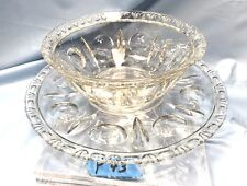 Vintage Large Clear Glass Bowl with Matching Under Plate Y43