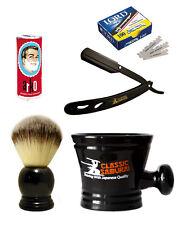 Straight Razor Set 100 Lord Single Blades, Shaving Brush, Mug, Arko Stick CS-MB