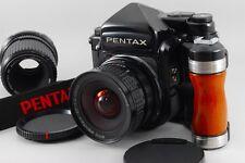 [Near Mint] Pentax 67 TTL Mirror Up 45mm 135mm Wood Grip Strap from Japan #5668