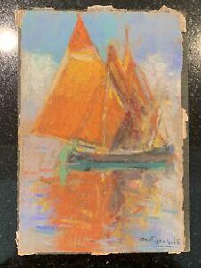Gaetano Esposito (1858-1911) Italian Pastel Boats Malta Italy Original Drawing