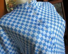 LARGE True Vtg 70s BABY BLUE CHECKER PRINT STRETCH NYLON JERSEY SCOOTER TOP