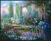Girl in Garden - Chart Counted Cross Stitch Patterns Needlework DIY DMC Color