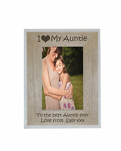 I heart-love My Auntie 4 x 6 Photo Frame White Edge Wood Frame - free engraving