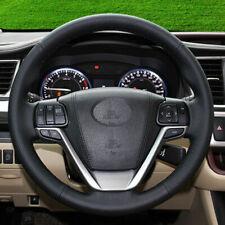 DIY Black Genuine Leather Car Steering Wheel Cover for Toyota Highlander 2018