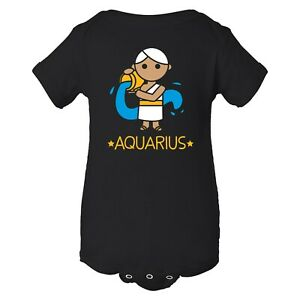 Cartoon Astrology Aquarius - Waterbearer Horoscope Infant Creeper Bodysuit
