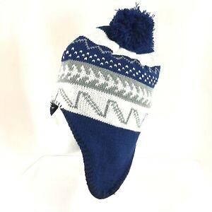 Polar Wear Kids Beanie Hat Ear Flaps Fleece Lined Striped Knit Pom Blue White OS