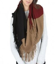 Burgundy Black and Beige Tri Colored Tassel Scarf