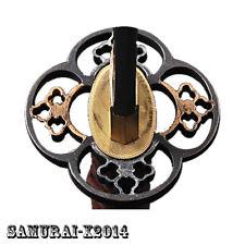 Black & Gold Alloy Tsuba Hand Guard For Japanese Samurai Sword Katana Wakizashi
