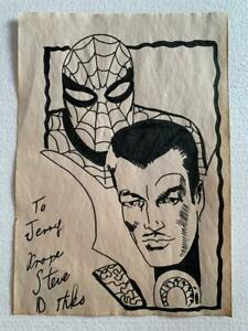 Steve Ditko drawing on paper signed and stamped mixed media