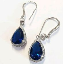 White gold finish pear cut blue sapphire and created diamond droplet earrings
