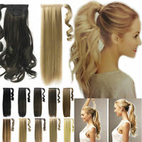 Thick Clip In Ponytail 100% human Hair Extensions Straight Curly Wrap Pony Tail