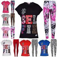 Kids Girls Tops Selfie Print Trendy T Shirt Top & Fashion Legging Set 7-13 Years