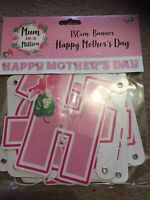 Mothers Days Banner - Mum Card Gift Best Bunting Party Item Sign Hanging Wall