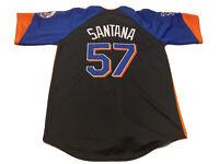 Majestic New York Mets Johan Santana # 57 Adult Size M Jersey Black Orange Blue