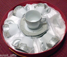 Porcelain China Set of 6 Teacups Tea Coffee Cups & Saucers Silver Floral Band