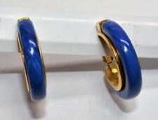 Signed TRIFARI Crown Goldtone Blue HOOP Shape Clip-On Earrings