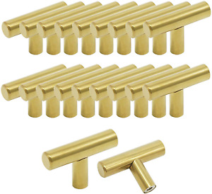 Probrico Pack of 20 Gold Stainless Steel Kitchen Cabinet T Bar Handle Furniture