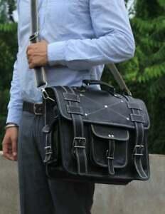 "16"" Convertible Laptop Messenger Vintage Handmade backpack Briefcase Cross Body"