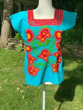 Mexican Blouse Top Shirt Embroidered Flowers Huipil Chiapas Medium Teal 1112