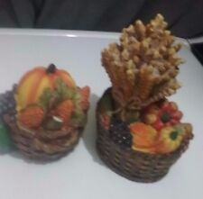 2 Fall Harvest Baskets of Fruits & Vegetables Polystone Figurines