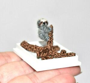 """Miniature OOAK Artist Sloth 0.6"""" Miniature Dollhouse Sloth on tree Toy Gift"""