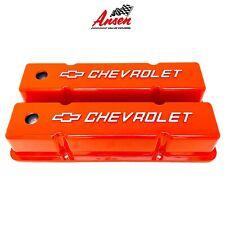 Big Block Chevy Racing Laser Engraved 496 Stroker Logo Orange Valve Covers