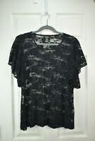 SHANNON FORD NEW YORK Sz 1X Black Floral Sheer Lace Ruffle Sleeve Top