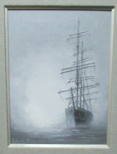 FREDERICK FIELDS CLIPPER SHIP IN THE FOG ORIGINAL OIL CANVAS SEASCAPE PAINTING