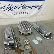Ford SBF 12 Chrome AC Valve Covers Engine Dress Up Kit No Breathers 289 302 351