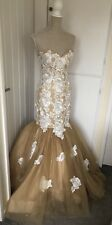 SO AMAZING TAUPE BLUSH LACE PROM DRESS EVENING MERMAID PAGENT UK 10 RRP £475