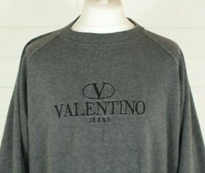 Vintage VALENTINO Jeans Jumper XXL Oversize Boxy 58 Grey Sweatshirt Winter Gift
