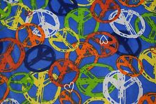 "Quilt Fabric Blue Peace Symbols Heart Print Apparel Craft Bandanna 45""W #9974B"