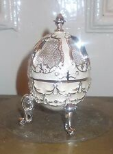 VINTAGE RETRO SILVER PLATED FABERGE EGG JEWELERY TRINKET WEDDING RING BOX