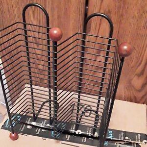 Hammered Metal CD Tower black Desktop CD Rack Holds 40. Round wooden feet