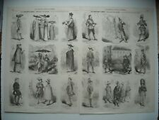 GRAVURE 1853. LES COSTUMES A ROME. CAPUCINS. GARDES SUISSES. POMPIER ET CANTONNI