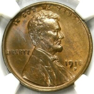 💚CAC💚❤️🔥❤️ NGC MS65 RB 1918 D LINCOLN CENT
