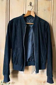 Bolongaro Trevor suede bomber jacket, size medium, black. (All Saints)