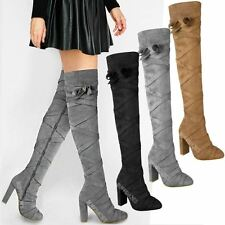 Womens Ladies Thigh High Boots Over The Knee Party Block High Heels Strappy Size