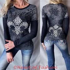 VOCAL Women's Vintage Burnout Stone Embellished Graphic Biker Top Tee Shirt