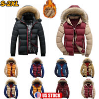 Men's Winter Warm Parka Coat Fur Hooded Thick Cotton Padded Jacket Outwear US