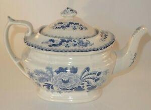Antique Blue & White Shabby Chic London Shape 2 1/2 Pint Floral Teapot c1840