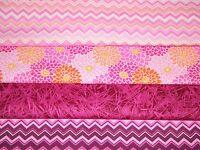 4 FQ Bundle – PINK & FUCHSIA Prints 100% Cotton Quilt Craft Fabric Fat Quarters