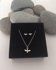 Sterling Silver Bee Jewellery. Bumblebee Necklace Set. Bee Earrings. Silver Bee