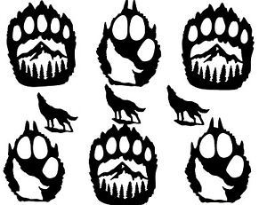 BEAR PAW/ PAWS with SILHOUETTE of MOUNTAINS & WOLF INSIDE OF THEM DIE CUT/ CUTS