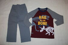 Boys Burgundy L/S Waffle Knit Shirt Dinosaurs Rad To The Bone Woven Pants Size 4