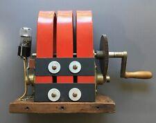 Vintage Working 3 Bar Magneto Hand Crank Electricity Generator w/ Cathode Tube
