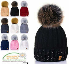 Women Ladies Winter Warm Beanie Hat Warm Knitted With Faux Large Pom Pon Pepe